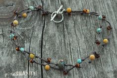 Turquoise and Yellow Jasper Gemstone Anklet ~by pineSHANTY, $8.50
