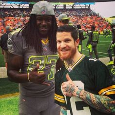 Andy Hurley and Eddie Lacy at the pro bowl! Two things i love, fob and the packers!! :)