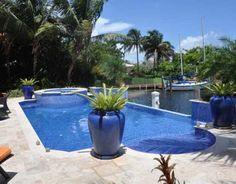 Azure blue mosaic tile pool & spa  www.9345GallardoStreet.com
