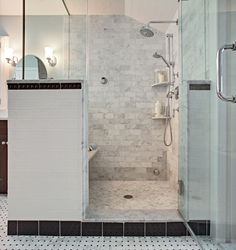 Classic Carrara marble steam shower (Bathroom Design by Tracey Stephens Interior Design)