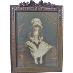 Lovely ROSE Swag FRENCH Ribbon Barbola Gold Gilt Gesso Picture Frame