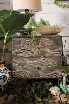 This would be PERFECT anywhere in the house, now, if it only cost $500 less ;)  -Handcarved Streamlet Nightstand #anthropologie