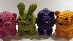 Chubby Amigurumi Pig, Bunny, Kitty and Bear.