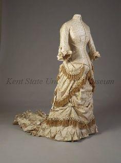 Ensemble, Wedding  Date1879-1879  CultureAmerican  Description: off-white damask  Object Number 1996.030.0001 ab  Kent State University Museum