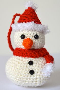 Ravelry: Christmas Snowman Hanging Tree Decoration pattern by Curly Girl Coop