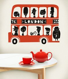 London Red Teapot, cup and saucer. we London London Bus, London Wall, Red Bus, Posca, Arte Pop, Grafik Design, London England, Wall Stickers, Wall Decal