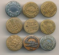 Beautiful Vintage Typography on Retro Workwear Buttons