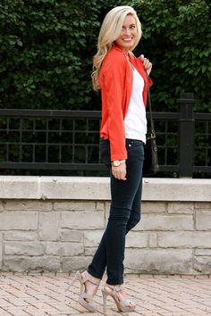 basic white tee with a blazer and jeans