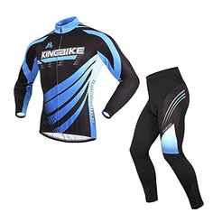 ChezMax Men Fleece Thermal Long Sleeve Cycling Jersey and 3D Padded Pants Black and Blue M * Details can be found by clicking on the image.