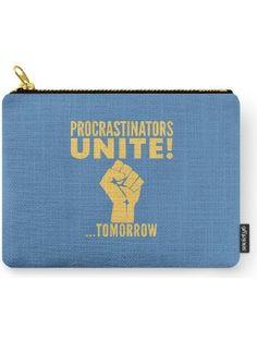 "Society6 Procrastinators Unite Tomorrow (Blue) Carry-All Pouch Small (6"" x 5"") ❤ Society6"