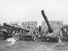 This German artillery was captured by Australian and Canadian troops, in the Somme Area, France, 1918.