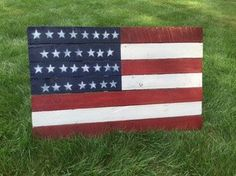 American Flag Reclaimed Wall Hanger 40 x 25 by CandBWoodShop