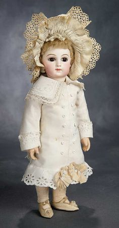 """15"""" Outstanding French Bisque Portrait Bebe by Emile Jumeau in Original Costume 6500/9500 ca 1878"""