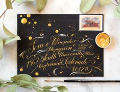 """""""Black Tie"""" White and Gold Envelope Calligraphy"""