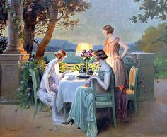 "✿Time For Coffee  Tea✿ ""Taking Tea by Lamplight"" by Delphin Enjolras (1857-1945)"