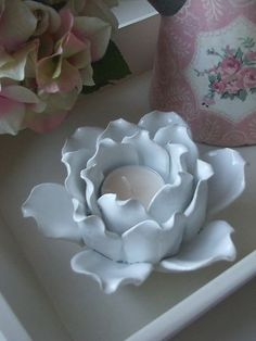 shabby chic handmade ceramic pottery flower rose petal tealight candle holder | eBay