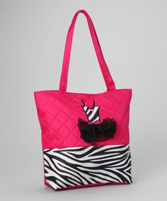 Take a look at this Fuchsia Zebra Tutu Tote by Seesaws & Slides on #zulily today!
