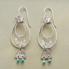 TWIN TREES EARRINGS double loops of hammered sterling silver with turquoise, moonstones and ss.