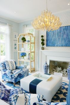preppy decor - - Abstract featuring a multitude of indigo hues. The canvas giclee has a distinct vertical texture with an image texture gel application. Coastal Living Rooms, Home Living Room, Coastal Homes, Coastal Cottage, Coastal Decor, Beach Living Room, Blue Living Room Decor, Estilo Hampton, Design Trends