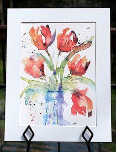 Original Impressionistic Tulips in Jar   by McKinneyx2Designs