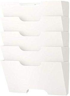 Amazon.com: Ikea Kvissle 5 Shelve Metal Wall Magazine File Rack, White: Office Products Wall File Organizer, File Organiser, Magazine Files, Metal Magazine, Magazine Holders, Metal Walls, Shelving, Ikea, Organization