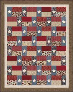 """A Texas Quilt! """"Hold 'em or Fold 'em"""" - Stars and Stripes Free Quilt Pattern Texas Quilt, Flag Quilt, Patriotic Quilts, Star Quilts, Scrappy Quilts, Easy Quilts, Quilt Blocks, Jellyroll Quilts, Patriotic Crafts"""