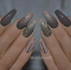 In search for some nail designs and some ideas for your nails? Listed here is our listing of must-try coffin acrylic nails for cool women. Cute Acrylic Nails, Acrylic Nail Designs, Nail Art Designs, New Years Nail Designs, Nails Design, Gray Nails, Matte Nails, Black Ombre Nails, Coffin Nails Long