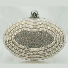 Tigerstars l $36.00 Elegant Champagne Pearl Beads Rhinestone Oval Minaudiere Case Purse Handbag