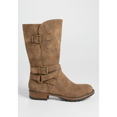 maurices Sarah Distressed Faux Suede Boot With Buckles In Tan,... ($59) ❤ liked on Polyvore featuring shoes, boots, tan boots, buckle shoes, faux-fur boots, synthetic shoes and destroy boots