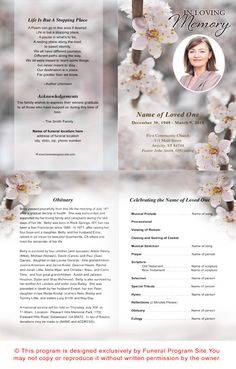 Flower Bud Funeral Program Template  Program Template Bud And Flower