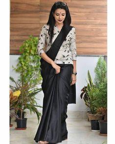 Sari Blouse, Silk Saree Blouse Designs, Long Blouse, Sari Dress, Black Blouse Designs, Blouse Designs High Neck, Dress Designs, Stylish Sarees, Stylish Dresses