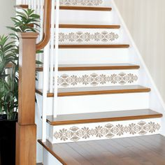 We absolutely, love this! Wall Pops Kolkata Stripe Wall Decals @Sarah Chintomby Nasafi Grayce #stairs #decal