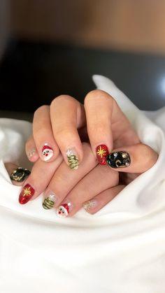 christmas gel nail design #christmas #nailart #nailgel