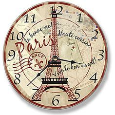 @Overstock.com - Paris Eiffel Tower Wall Clock - This cool clock is adorned with colorful designs to match any room's decor. This fun and functional wall clock makes a great conversation piece while helping you stay on top of your schedule.  http://www.overstock.com/Home-Garden/Paris-Eiffel-Tower-Wall-Clock/6731474/product.html?CID=214117 $17.74