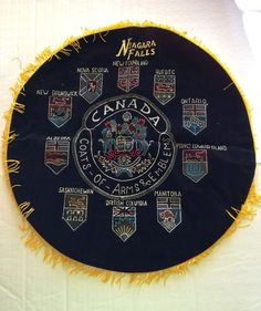 Canada Coats Of Arms And  Emblems Pillow Cover Or Wallhanging Collectible Gift