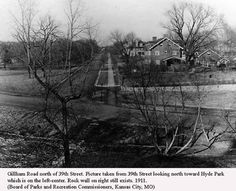& Gillham Road looking North - 1911 - Hyde Park on the Left Farm Entrance, St Joes, Kansas City Missouri, Hyde Park, Historical Pictures, City Streets, Monuments, Goodies, Crown
