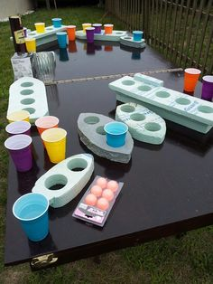beer pong battleship... I feel like u could do something similar for a fun outside family game..... Obviously minus the beer...