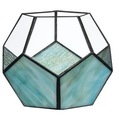 Geometric Blue Votive Candle Holder Stained Glass Designs, Stained Glass Projects, Stained Glass Patterns, Stained Glass Art, House Ornaments, Lantern Candle Holders, Glass Votive, Glass Terrarium, Glass Boxes
