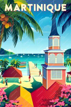 Seaside Art, Ville France, Affinity Designer, Travel Cards, Beach Wall Art, Vintage Travel Posters, Art Decor, Beautiful, Supper Club