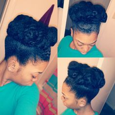 We like Khaleia Felix Clark's high bun. #naturalhair #OfficiallyNatural