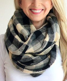 This Black & Cream Plaid Infinity Scarf is perfect! #zulilyfinds
