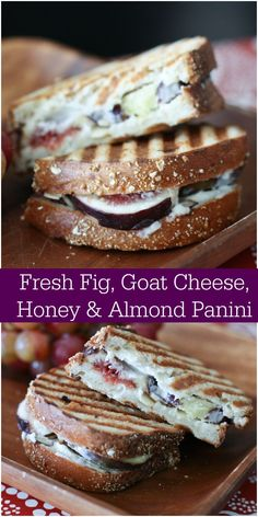Got fresh figs? This Fresh Fig, Goat Cheese, Honey & Almond Panini is truly as good as it sounds. Source by mysweetsavannah Fig Recipes, Cooking Recipes, Goat Cheese Recipes, Grilled Cheese Recipes, Good Food, Yummy Food, Tasty, Figs Goat Cheese Honey, Honey Almonds