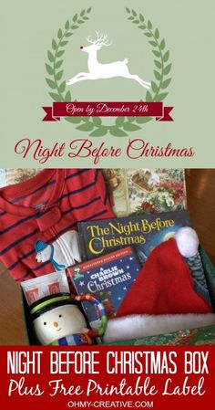 Night Before Christmas Box for kids (and Free Printables) pj's, movie, hot cocoa, etc