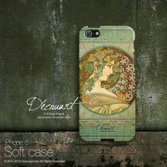 iPhone 5 case, iPhone 5s case, iPhone 5 cover, case for iPhone 5, Alphonse Mucha feminine illustration S413, christmas gift