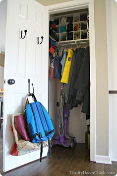 For the coat closet -- coats, vacuum, hooks for backpacks, kids jackets, sports bags, etc...
