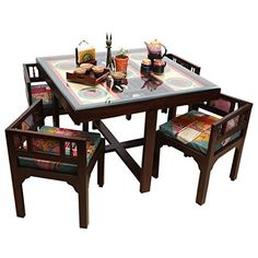 """Buy online ExclusiveLane Teak Wood """"Modern"""" Sleek 4 Seater Square Dining Table With Warli & Dhokra Art Work -Dining Table Set Wooden Furniture For Home Dining Room Sets Patio Dining Tables Wall Dining Table, Latest Dining Table, Dinning Table Design, 4 Seater Dining Table, Wood Table Design, Square Dining Tables, Wooden Dining Tables, Home Decor Furniture, Dining Room Furniture"""