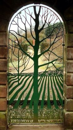 CREATION TEXTILE Art Nouveau Design Gate--Norton Priory Walled Garden--Cheshire, England