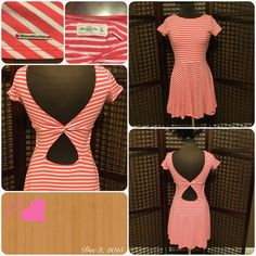 Abercrombie coral and white striped dress Abercrombie coral and white striped dress, cute sundress with twist and open back. Abercrombie & Fitch Dresses Midi
