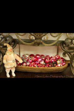 Vintage pink Harold Gale santa- pink antique ornaments-Haddock home tour 2015