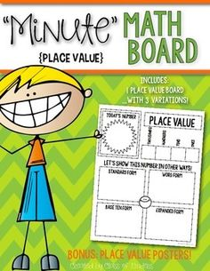 Minute Math Board for Place Value. Perfect for calendar time, math centers, or math stations. Independent or whole group. Laminate and add a dry erase marker and it is reusable day after day! $